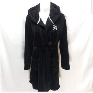 Victoria secret robe with Pom poms black fleece